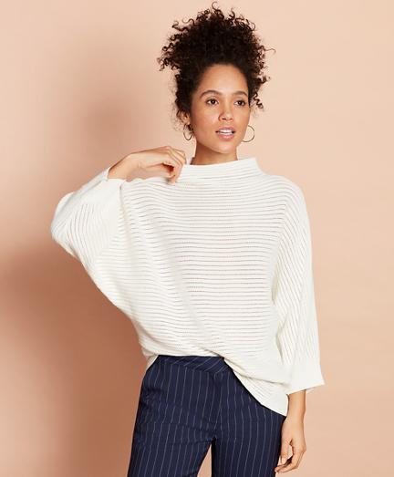 Cotton Pointelle Dolman Sweater