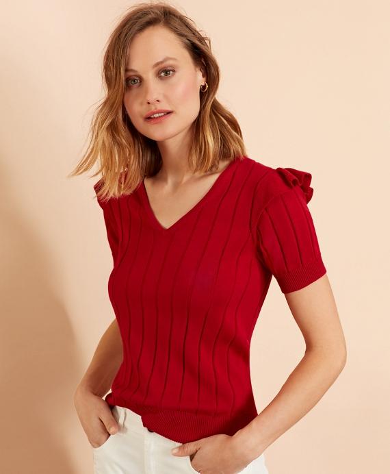 Cotton Ruffle-Trim Short-Sleeve Sweater Red