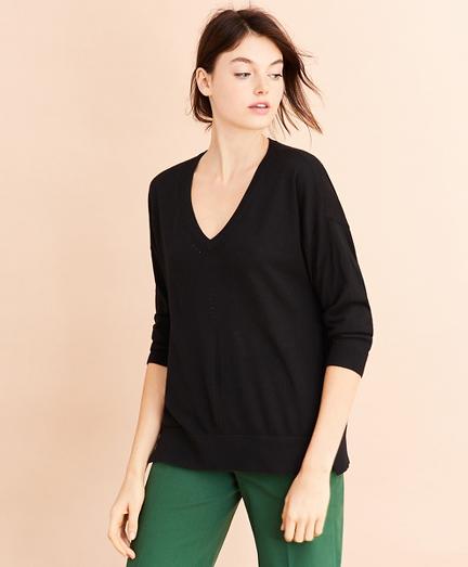 Merino Wool Pointelle-Detail V-Neck Sweater