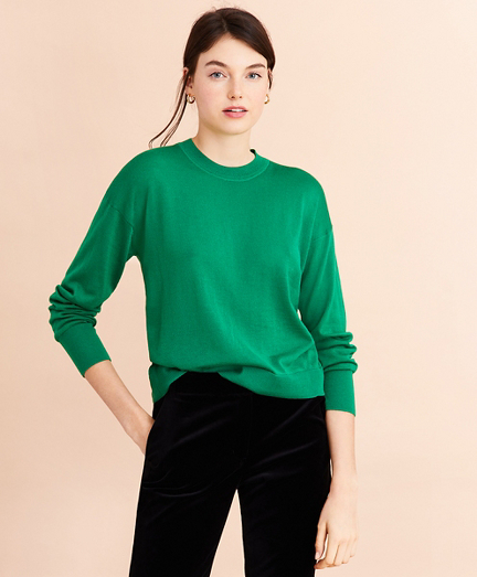 Merino Wool Pointelle-Detail Crewneck Sweater