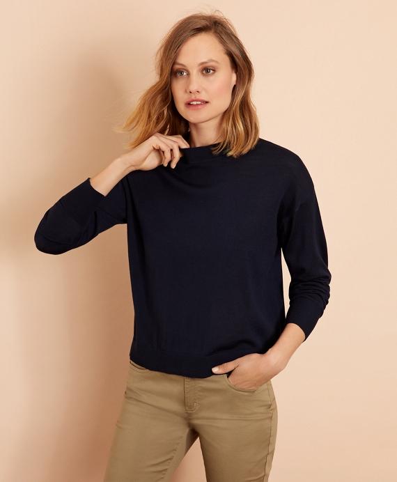 Merino Wool Pointelle-Detail Crewneck Sweater Navy