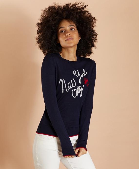 New York City Merino Wool Sweater Navy