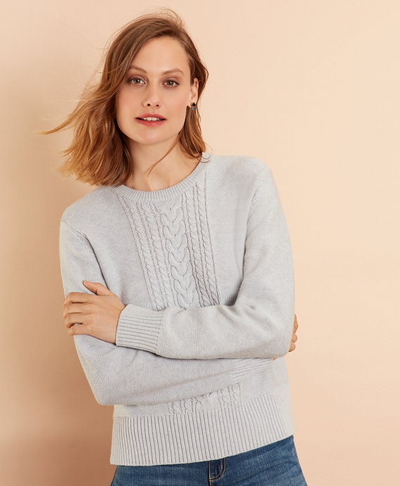 Wool-Cotton Cable-Knit Sweater Grey