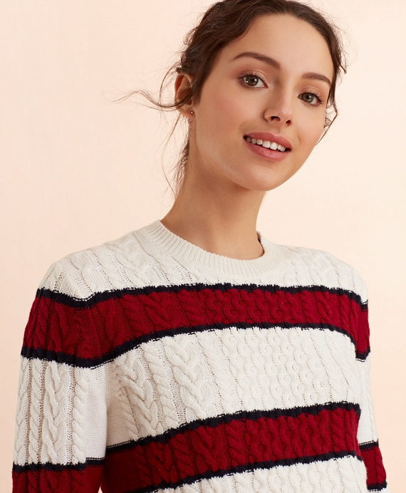 Striped Wool-Cotton Cable-Knit Sweater White