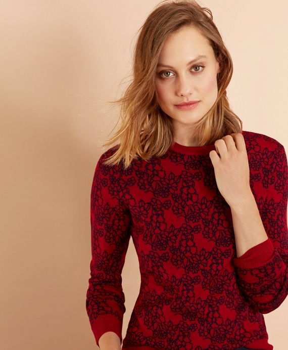 Floral Merino Wool Sweater Red
