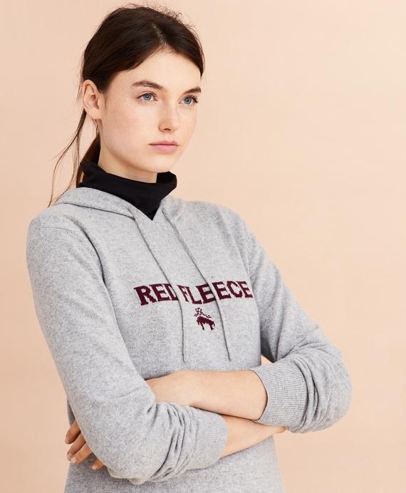 Wool-Cashmere-Blend Logo Hoodie Sweater Grey