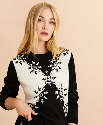 Snowflake-Embroidered Wool-Alpaca Blend Sweater