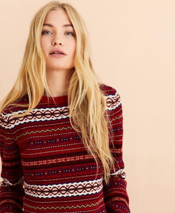 Fair Isle Stretch Merino Wool Sweater Red
