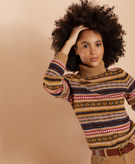 Stretch Merino Wool Fair Isle Turtleneck Sweater