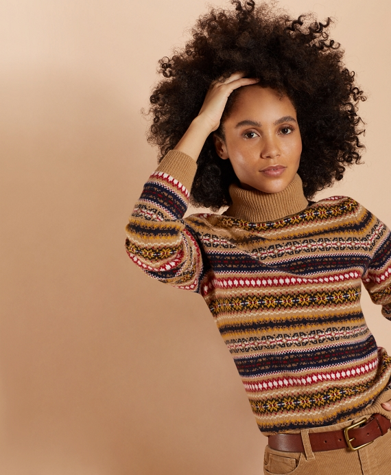 Stretch Merino Wool Fair Isle Turtleneck Sweater Camel