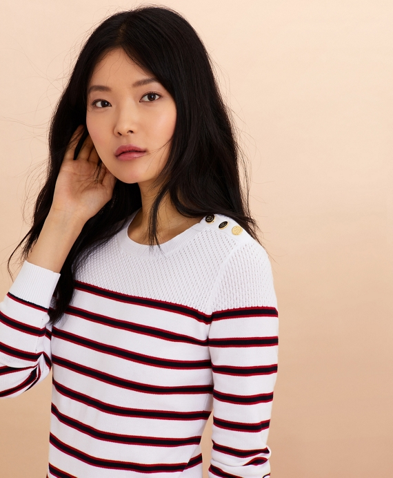 Striped Cotton Sweater Ivory-Multi