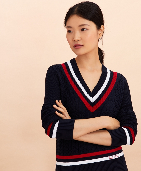 Logo-Embroidered Cotton Tennis Sweater Navy