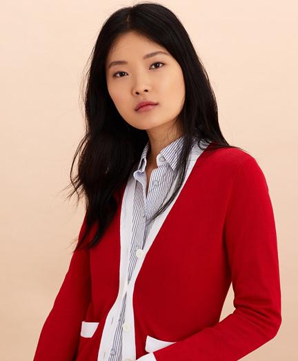Contrast-Trim Cotton-Blend Cardigan