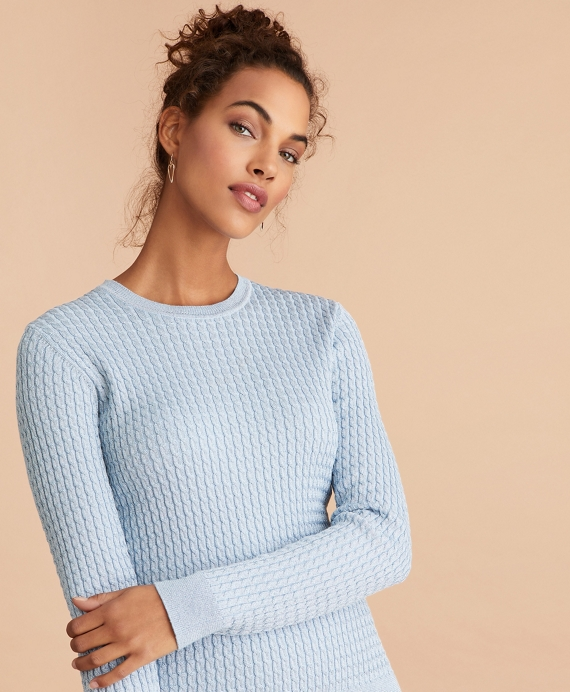Shimmer-Knit Sweater Pale-Blue