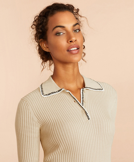 Rib-Knit Cotton Polo Sweater