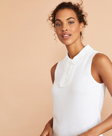 Crochet Lace-Trimmed Cotton Sleeveless Polo