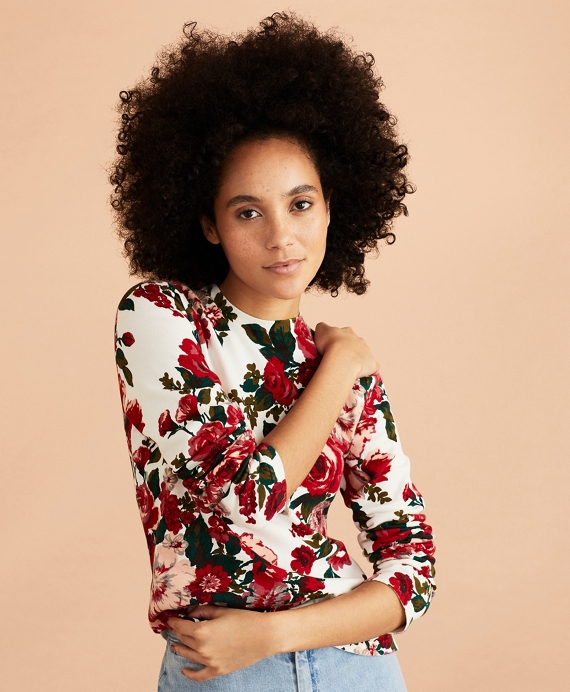 Floral-Print Cotton Sweater Ivory-Multi