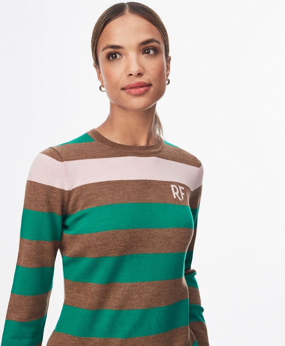 Striped Merino Wool Sweater Green-Multi