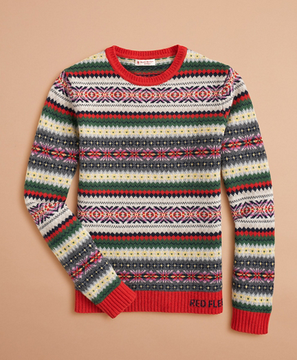 Stretch-Merino-Wool Fair Isle Sweater