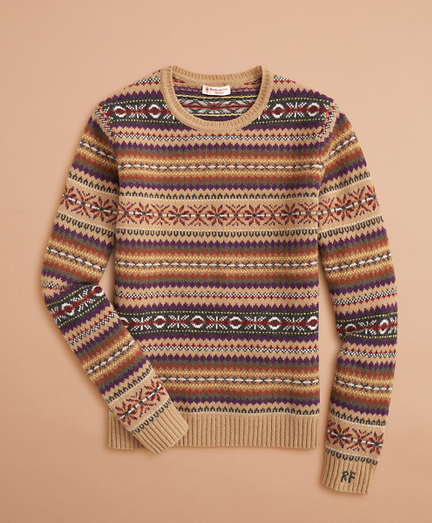 Stretch-Merino Wool Fair Isle Sweater