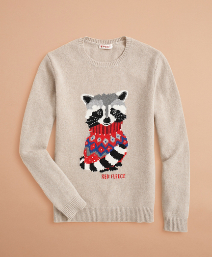 Racoon-Pattern Stretch-Merino-Wool Sweater