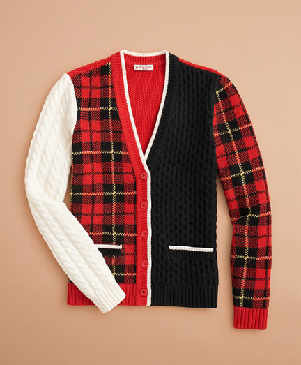 Stretch-Merino-Wool Patchwork Tartan Cardigan