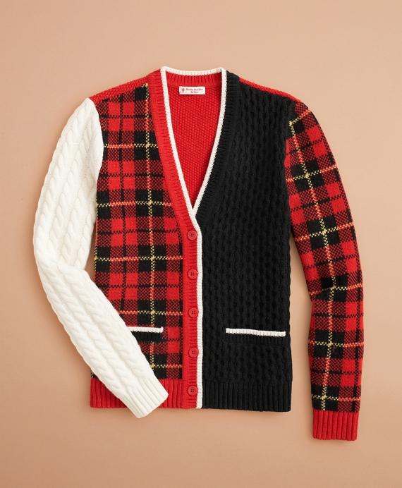 Stretch-Merino-Wool Patchwork Tartan Cardigan Red