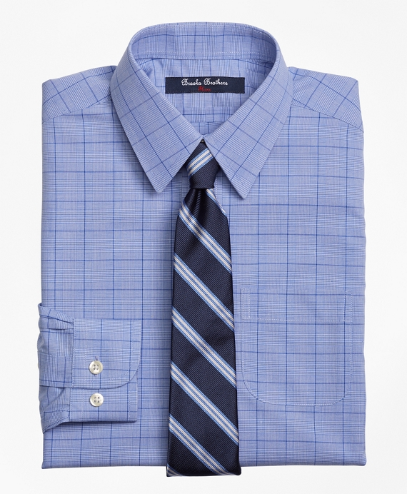 Boys Non-Iron Supima® Cotton Broadcloth Plaid Dress Shirt Blue