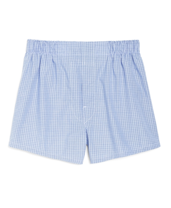 Boys Mini Check Boxers Blue