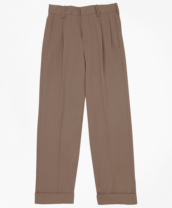 Boys Pleat-Front Gabardine Prep Trousers British Tan