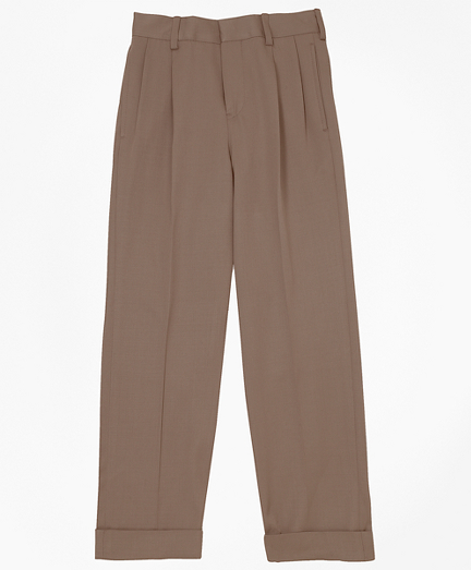 Boys Pleat-Front Gabardine Junior Trousers