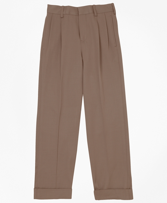 Boys Pleat-Front Gabardine Junior Trousers British Tan