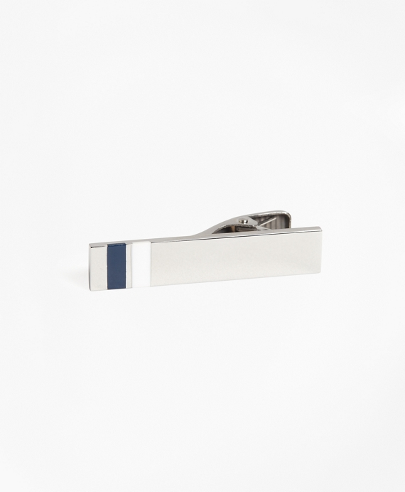 Stripe Tie Bar Silver-Blue