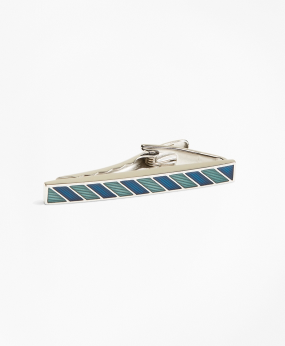 Stripe Enamel Tie Bar Blue-Green