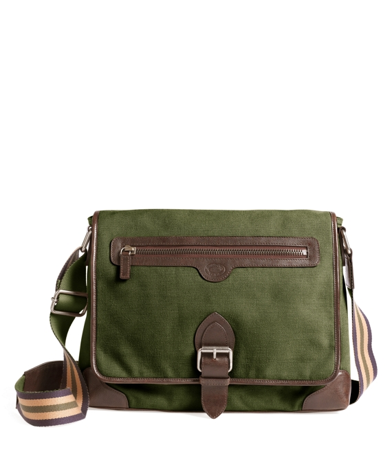 Washed Canvas and Leather Buckle Messenger Bag Olive