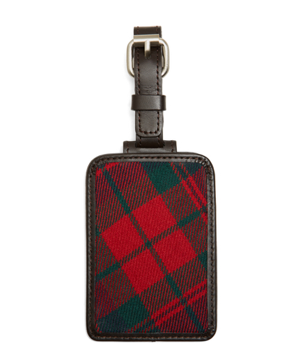 Red and Navy Plaid Luggage Tag