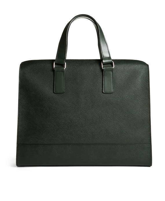 Saffiano Leather Slim Briefcase Dark Green