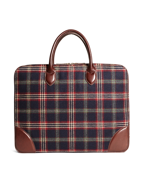 Brooks Brothers Signature Tartan Briefcase Navy