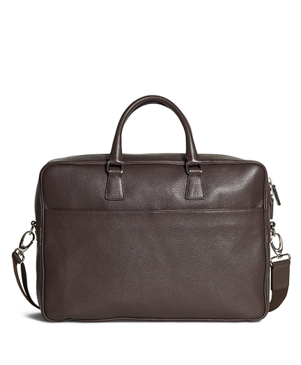 Pebble Leather Slim Briefcase