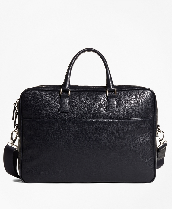 Pebble Leather Briefcase Navy