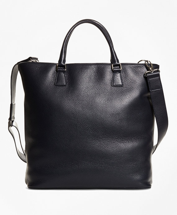 Pebble Leather Tote Navy