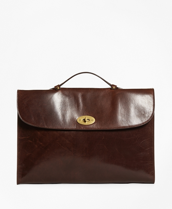 Distressed Leather Briefcase Brown