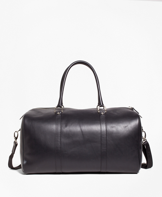 9af92b83c7 Leather with Black Watch Duffle Bag - Brooks Brothers