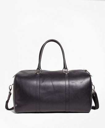 Leather with Black Watch Duffle Bag