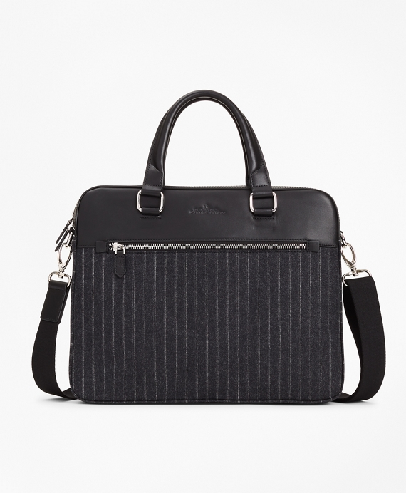 Wool Stripe Briefcase Charcoal