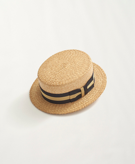 1960s Straw Boater with Striped Band