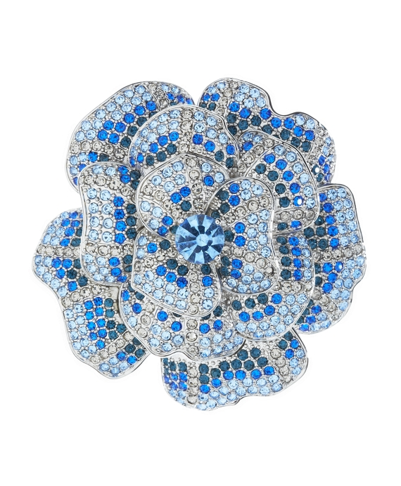 Ombre Crystal Flower Brooch Blue-White