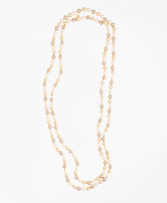 Tonal Pearl Necklace Gold-Pink