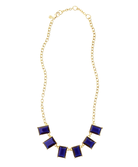 Glass Bib Necklace Blue