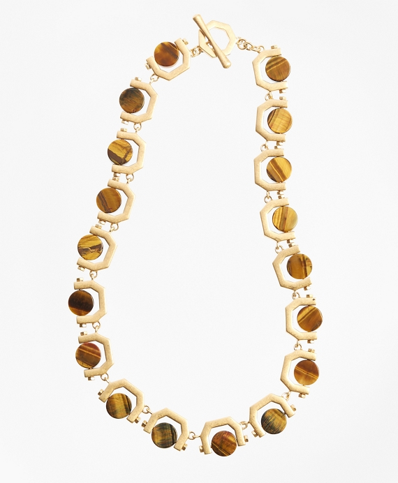 Tigereye Chain-Link Necklace Gold